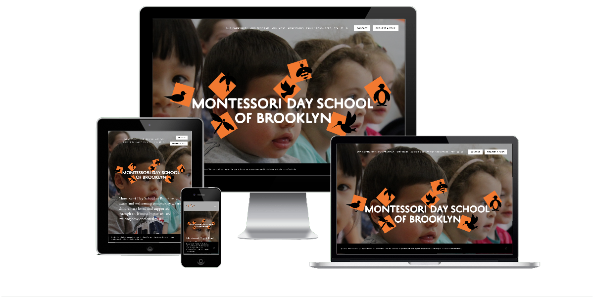 Responsive layout examples of the Montessori Day School of Brooklyn website