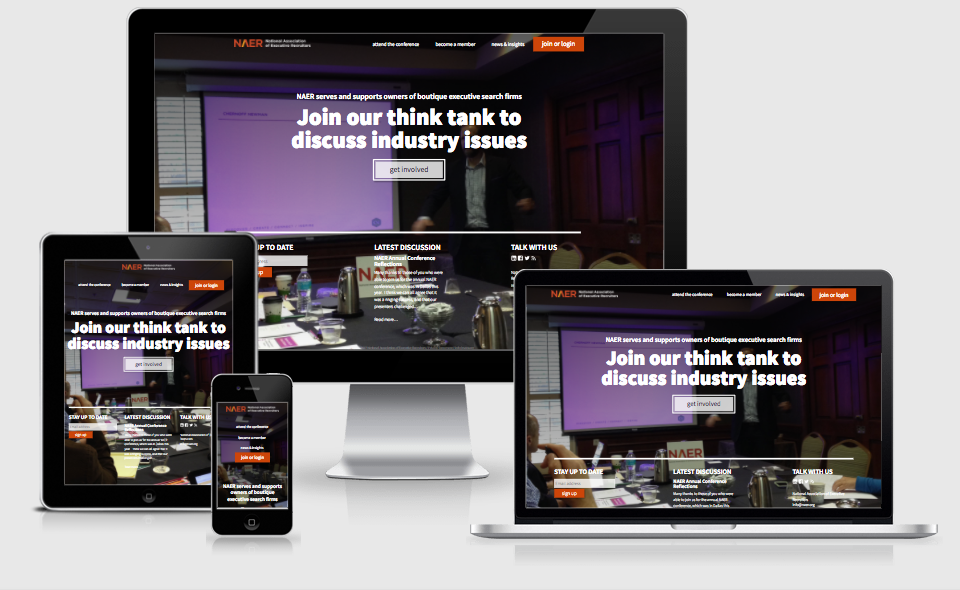 National Association of Executive Recruiters website in different responsive layouts and devices.