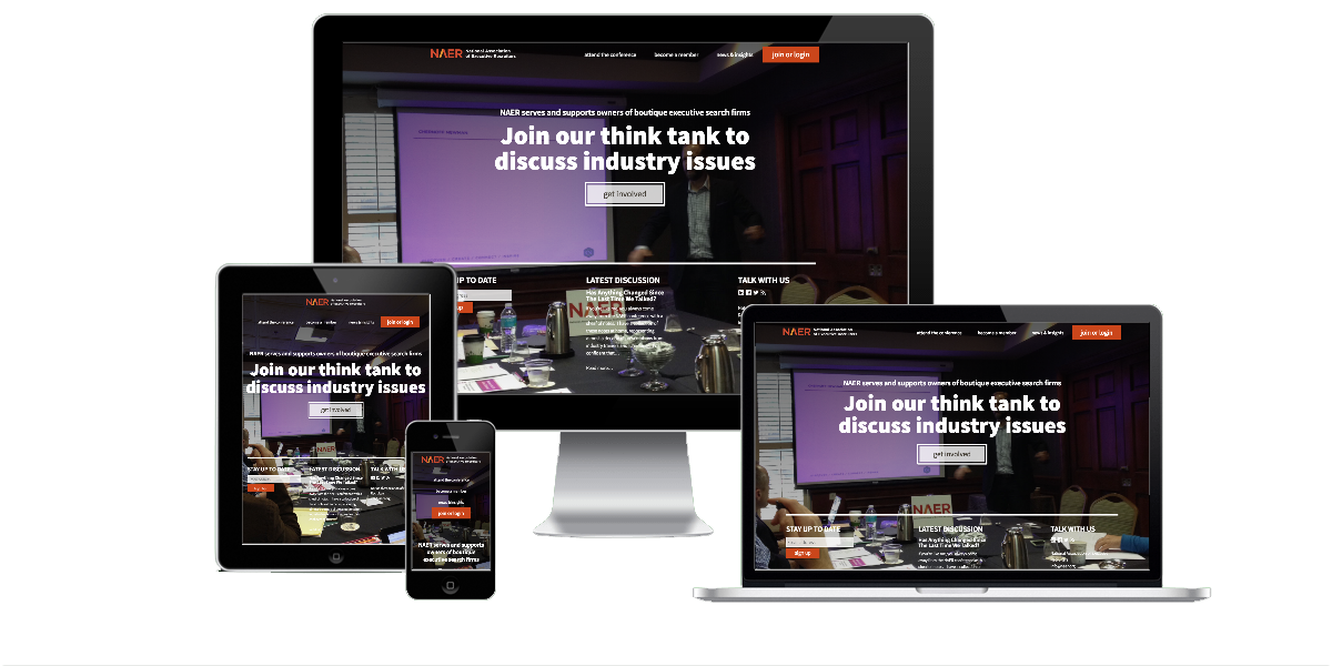 Responsive layout examples of the National Association of Executive Recruiters website