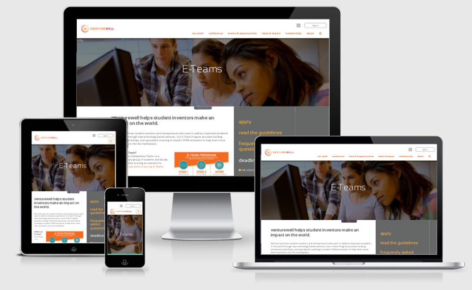 VentureWell website pages in responsive layouts shown on various devices
