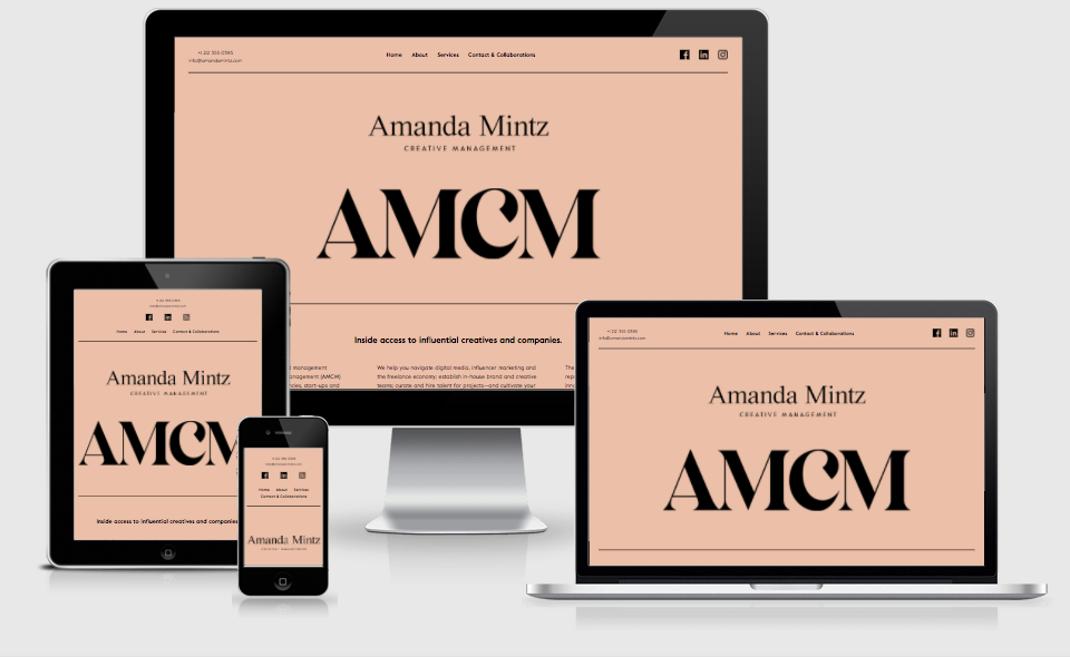 Amanda Mintz Creative Management websites displayed in various responsive layouts on various devices.