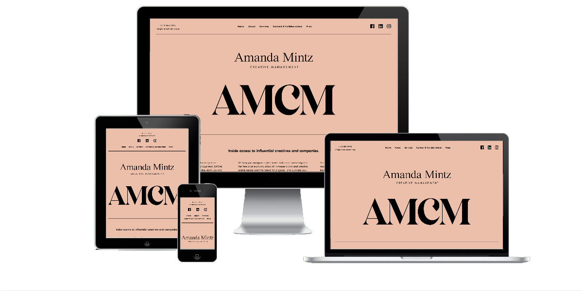 Responsive layout examples of the Amanda Mintz Creative Management website