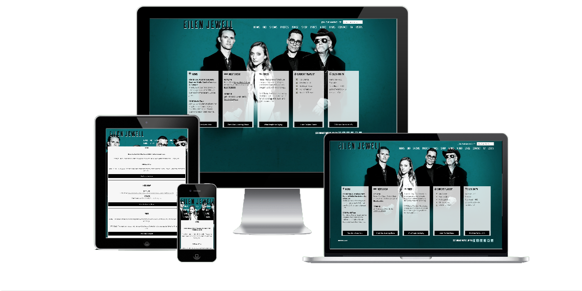 Responsive layout examples of the Eilen Jewell website