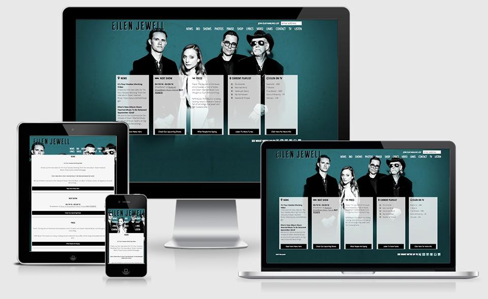 Responsive layouts of Eilen Jewell's Website