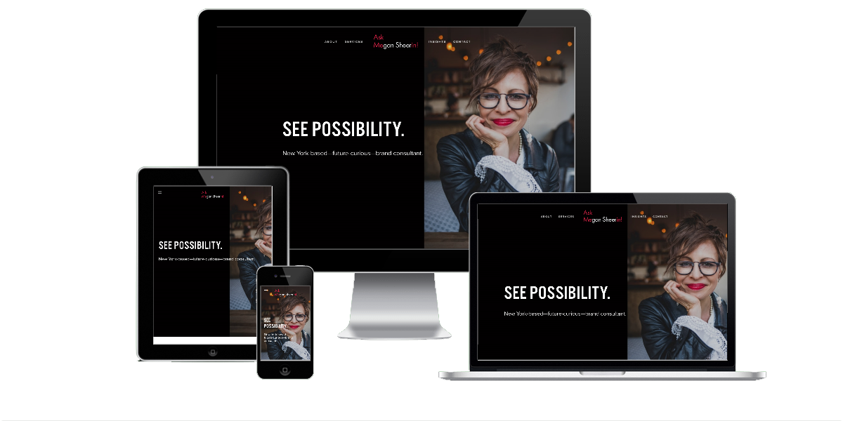Responsive layout examples of the Megan Sheerin website