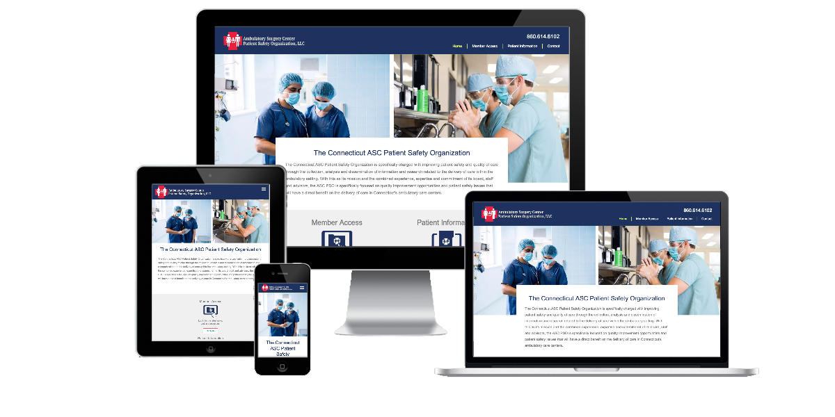 Responsive layout examples of the Connecticut ASC Patient Safety Organization website