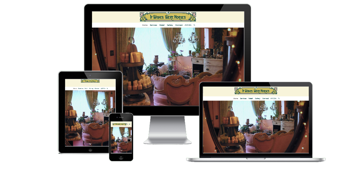 Responsive layout examples of the If Wishes Were Horses website